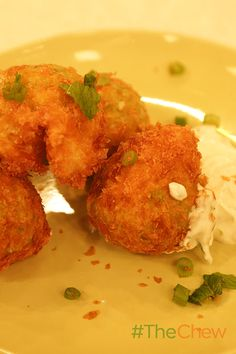 These Potato and Pea Fritters with Yogurt Sauce are a great snack or side dish! The Chew Recipes, Recipes Dinner, Pea Fritters, Yogurt Sauce, Corn Bread, Wonderful Recipe, Potato Dishes, Appetizer Dips, Hush Puppies