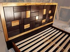 Unique Bed Frames Headboards: Hand Made Patterned Bed Headboard w/ Zebrawood Frame