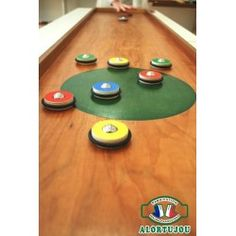Curling pions boules double - Jeu géant bois - Alortujou Curling, Shuffleboard Games, Wood Games, Traditional Games, Poker Table, Wood Turning, Diy And Crafts, Woodworking, Kids