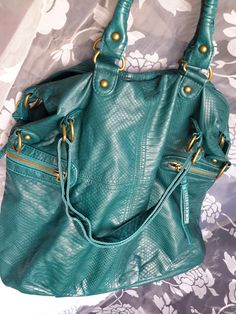 Beautiful large Teal Green Tote Boho bag, - On Sale now, large tote bag, Beautiful Boho bag, Teal Tote Bag, Vegan Leather Bag Beautiful Handbags, Teal Colors, Teal Green, Balenciaga City Bag, Vegan Leather, Leather Handbags, Boho Fashion, Shoulder Bag, Women