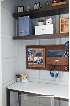 Small desk area in a corner with shelves on the walls                                                                                                                                                      More