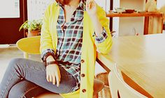 oooh new mustard yellow cardigan would be so cute with a plaid shirt too.