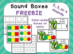 """This FREE set will help your students develop important phonemic awareness skills.   Included in this set are sound boxes for 2,3,or 4 sounds; one set has color-coded boxes (green,yellow,red), while the other has white boxes. There is also a complete set on a """"stretchy"""" snake, if you choose to use this set."""