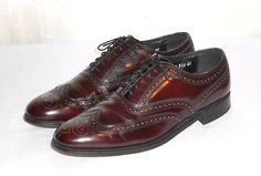 Florsheim Men's Burgundy Leather Wing Tip Oxford Shoe Size 8.5 D #Florsheim #WingTipOxford