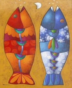 Solve Red Fish Blue Fish jigsaw puzzle online with 304 pieces Silk Painting, Painting & Drawing, Cultural Crafts, Red Fish Blue Fish, Fish Quilt, Art Folder, Naive Art, Fish Art, Whimsical Art