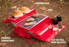 This is the BBQ Toolbox from SUCK UK, a portable barbecue grill in the form of a classic red toolbox.