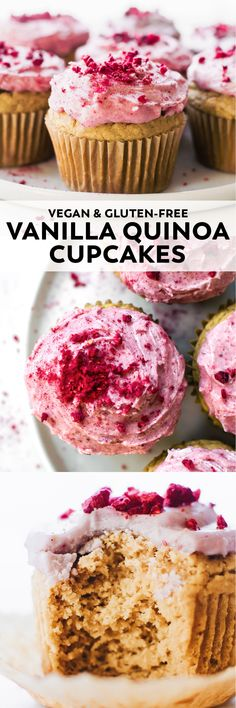 Vanilla Quinoa Flour Cupcakes (Vegan & Gluten-Free) : Vanilla Quinoa Flour Cupcakes A healthier birthday (or any day) treat – Quinoa Flour Cupcakes with just 7 ingredients and creamy pink coconut berry frosting on top. Vegan Dessert Recipes, Gluten Free Desserts, Cupcake Recipes, Healthy Desserts, Baking Recipes, Cupcake Cakes, Pink Desserts, Vegetarian Recipes, Gluten Free Vegan Cupcakes