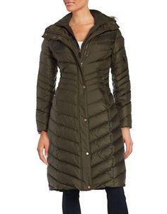"""<ul><li>This toasty down filled coat with -18 to 38 degree ratings also offers stylish chevron panels </li><li>Removable fur trim hood</li><li>Attached ribbed bib</li><li>Concealed front zipper with snap button placket</li><li>Dual waist zip pockets</li><li>Long sleeves</li><li>Single zip pocket on left sleeve</li><li>Ribbed cuffs</li><li>About 42"""" from shoulder to hem</li><li>Polyester lining</li><li>Shell: Polyester</li><li>Faux fur trim: Modacrylic/acrylic</li><li>Fill: Down/waterfowl…"""