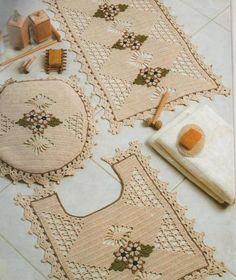 Jogos Tapetes Para Banheiro Crochet Barbante Com Graficos  Kamistad