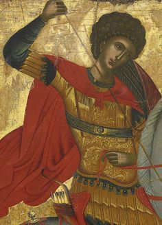 Detailed view: Saint George and the Dragon- exhibited at the Temple Gallery, specialists in Russian icons Religious Pictures, Religious Icons, Religious Art, Byzantine Icons, Byzantine Art, Famous Freemasons, Saint George And The Dragon, Russian Icons, Orthodox Icons