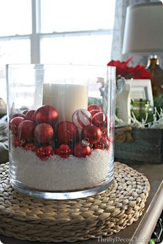 Simple decorating with fake snow and some pretty ornaments! #Christmastourofhomes by etta
