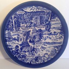 Cobalt Blue With White CALIFORNIA Collector Plate #Boleslawiec