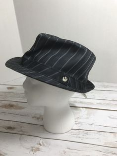 3e30b1ebf3818 Mens Fedora Hat Black Striped sz L  fashion  clothing  shoes
