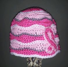 Items similar to Breast Cancer Awareness Crochet Hat on Etsy Crochet Crafts, Crochet Projects, Crochet Cup Cozy, Crochet For Kids, Crochet Children, Breast Cancer Awareness, Crochet Patterns, Hat Patterns, Cheryl