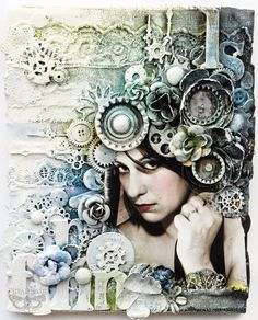 mixed media canvas collage how to - Google Search