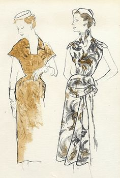 Fashion illustration by Bernard Blossac, 1953, Paquin Couture (left), Carven Couture (right).