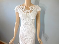 White Lace Wedding DRESS Bohemian Wedding Gown Sheer Plunging Neck