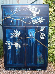 VINTAGE TALLBOY cupboard cabinet PAINTED tv SIDEBOARD shabby chic decoupage BLUE