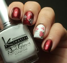 Full post here :  http://theclockwisenailpolish.blogspot.pt/2013/06/kinetics-kp-234-red-gown-kinetics-kp.html  Use our Nail Art Stamp Template Beautiful Flower Lace Stripe Design – QA46  http://theclockwisenailpolish.blogspot.pt/2013/06/kinetics-kp-234-red-gown-kinetics-kp.html  10% off sitewide code: CXL91