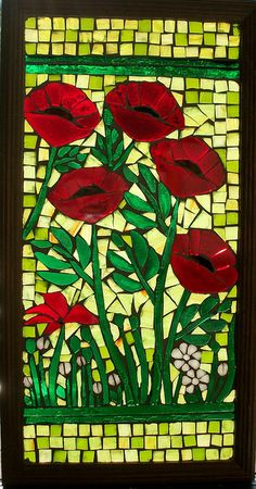 Mosaic poppies - always reminds me of our beautiful bike ride in Tarascon, France (backpacking honeymoon in Europe). Stained Glass Patterns, Mosaic Patterns, Stained Glass Art, Tile Art, Mosaic Art, Mosaic Glass, Mosaic Crafts, Mosaic Projects, Mosaic Tile Designs