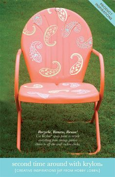 Diy Crafts : Illustration Description Update tired lawn furniture in a snap with a fresh color palette and easy-to-use stencils. Prepare to be amazed! -Read More – Painted Chairs, Painted Furniture, Metal Furniture, Vintage Furniture, Metal Lawn Chairs, Paisley, Metal Tree Wall Art, Metal Art, Lawn Furniture