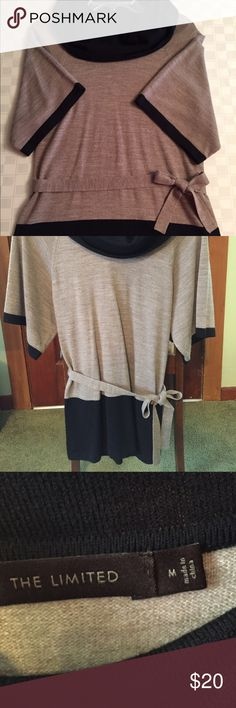 The Limited tunic top Brown & black, EUC, tie accent, black sleeve accents, cowl neck. Super soft, hardly worn. The Limited Tops