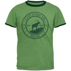 Glacier National Park Vintage Heather Green Men's Ringer T-Shirt - Medium