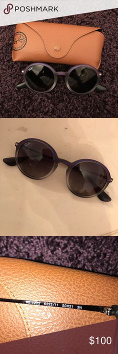 Ray-ban round sunglasses NEVER WORN, brand new, ray-ban round sunglasses. Frame color: violet, grey, gunmetal. Lense color: grey gradient. Frame material: nylon. Ray-Ban Accessories Sunglasses