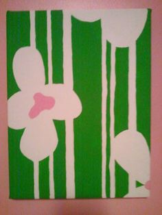 Canvas I painted for my toddler girl's room. Got inspiration off the quilt I bought for the twin bed designs (almost exactly; I'm not that creative from scratch.)  (1 of 3)