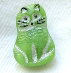 Czech Glass Kitty Button Realistic Green Glass by ButtonOdyssey