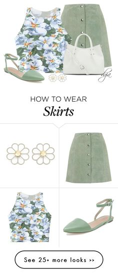 """TOPSHOP Suede Button Front A-Line Skirt"" by dgia on Polyvore"