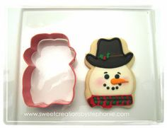 Hello Kitty cookie cutter turned Cowboy Snowman @Eva S. Creations by Stephanie