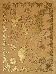 """""""Unicorns"""", golden grafic art, size 24x30cm., by Alexey Volgutskov"""