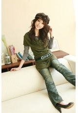 Wholesale Casual & Trendy Waist Shaping Striper Irregular Collar Two-piece Suit Dress----Green top dresses