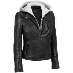 Black Rivet Center Zip Lamb Scuba w/Cinched Detail and Knit Hood ($150) ❤ liked on Polyvore featuring outerwear, jackets, collar jacket, slim fit jackets, slim leather jacket, slim fit leather jacket and slim jacket