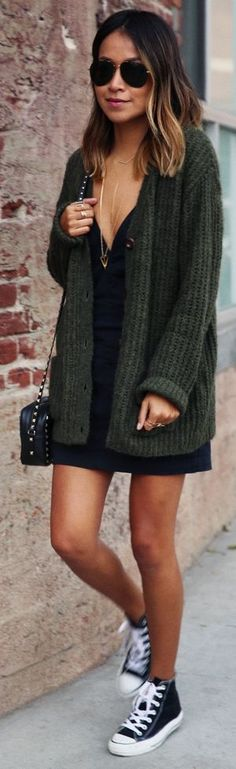 black tee shirt dress, green cardigan, gold necklace, black converse
