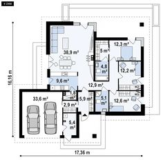 Projekt domu Z333 dom parterowy z dachem wielospadowym, garażem dwustanowiskowym… Modern House Design, Modern Architecture, Future House, Planer, House Plans, Sweet Home, Floor Plans, Layout, How To Plan