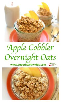 Apple Cobbler Overnight Oats. Take 5 minutes to prep breakfast for the family before bed and have the most delicious, whole-grain breakfast that tastes exactly like Apple Cobbler! www.superhealthykids.com/apple-cobbler-overnight-oats