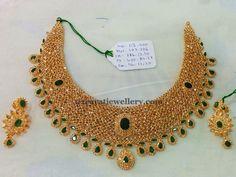 Uncut Diamond Necklace latest jewelry designs - Page 9 of 40 - Jewellery Designs Jewelry Design Earrings, Gold Earrings Designs, Gold Jewelry, Antique Jewelry, Vintage Jewellery, Jewelry Sets, Bridal Jewelry, Fancy Jewellery, Gold Designs