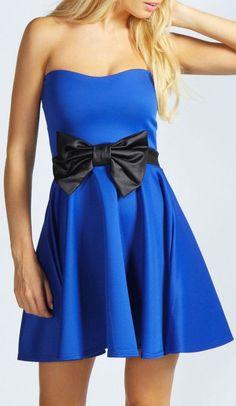 Blue Bow Bandeau Skater Dress ♥