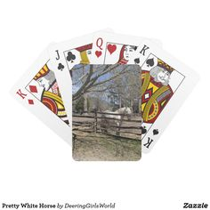 Pretty White Horse Playing Cards