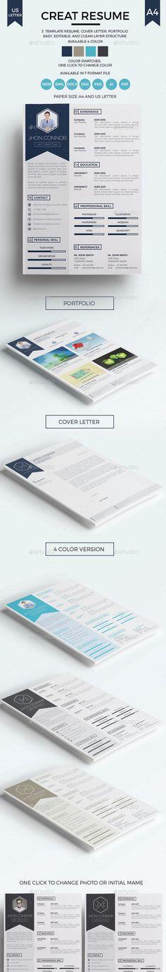 Creat Resume (InDesign INDD, AI Illustrator, CS, 8.27x11.7, ai, blue, bundle, business, clean, cover letter, creative, curiculum vitae, designs, doc, docx, elegant, illuistrator, indesign, job, letter, modern, ms word, pack, pdf, photoshop, portfolio, print, psd, resume, simple, template)