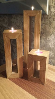 Hand Made Trio of Candle Holders from Reclaimed Wood (Diy Furniture Pallets) Carpentry Projects, Diy Wood Projects, Wood Crafts, Art Projects, Bois Diy, Wood Projects For Beginners, Into The Woods, Wooden Candle Holders, Homemade Candle Holders