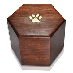 High Maintenance Dog Memorial Gallery Pets SWH-014 Paw Print Hexagon Pet Cremation Wood Urn