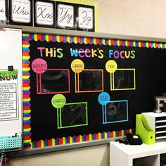 Love this part of my classroom!! Tailored @theamygroesbeck Objectives Board kit on TpT to fit my needs. Also featured are…