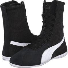PUMA Eskiva Hi Textured (Black) Women's Shoes ($70) ❤ liked on Polyvore featuring shoes, black, black leather shoes, slip-on shoes, black shoes, leather shoes and puma footwear