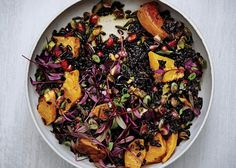 Black and Wild Rice Salad with Roasted Squash Recipe - Bon Appétit (sub agave or Bee Free Honee)