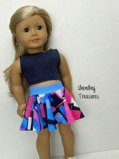 American Girl doll clothes, 18 inch doll clothes, American Girl clothes, navy crop top, and skater skirt