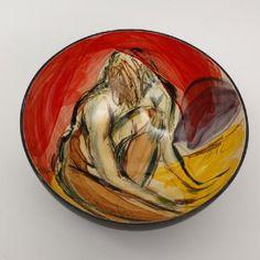 Ingrid Saag - Bowl, super large - Crouching Nude    11 x 24 cms White earthenware,   http://www.newashgate.org.uk/pages/exhibitors/thumbnails/6799.html