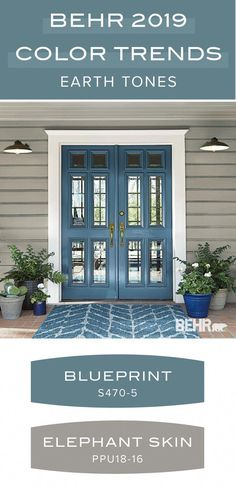 Ground your home with this earth tone paint color palette from the Behr 2019 Col. Ground your home with this earth tone paint color palette from the Behr 2019 Col… Best Exterior Paint, House Paint Exterior, Exterior Doors, Exterior Design, Gray Exterior, Exterior Remodel, Wall Exterior, Modern Exterior, Door Design